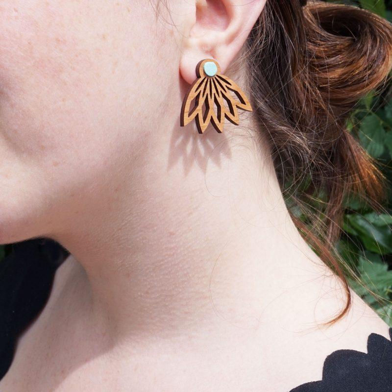 Boucle d'oreille en bois et simili cuir eau vegan portée