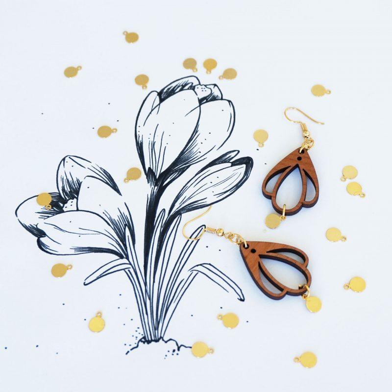 boucles d'oreilles en bois MARTHO CHAMPETRE bijoux en bois illustration botanic