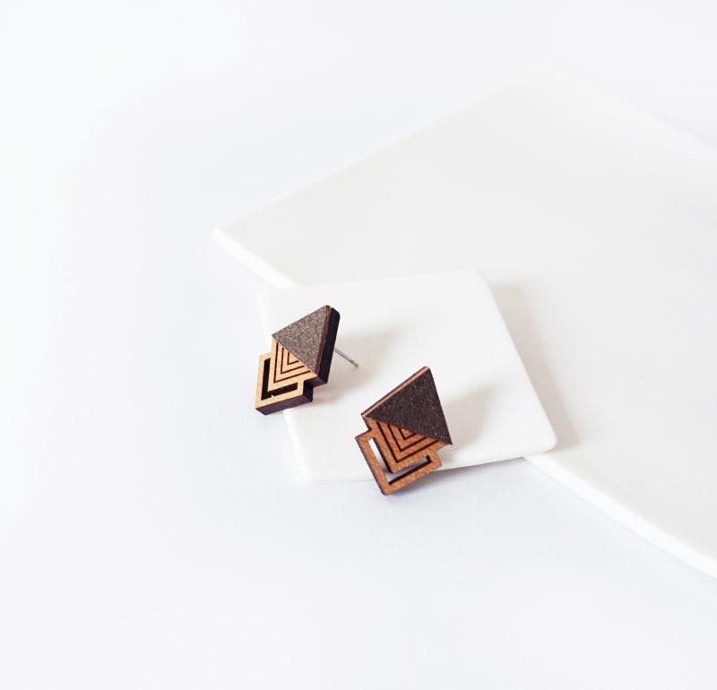 oucles d'oreilles en bois et cuir upcyclé bronze HIBIS Martho