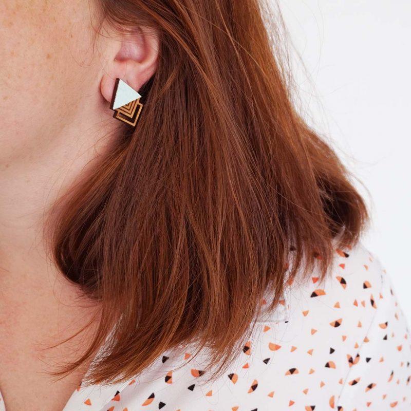 boucles d'oreilles en bois et simili cuir upcyclé EAU Martho