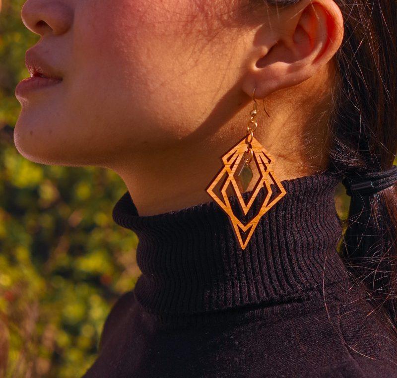 boucles d'oreilles en bois découpé au laser MARTHO bijoux en bois RHOMBES