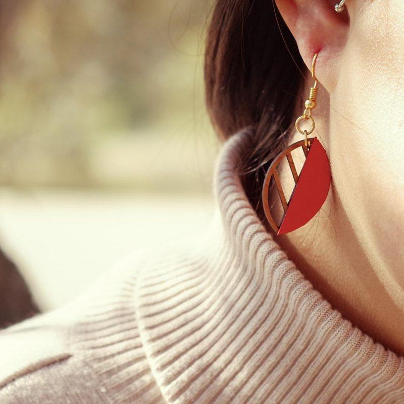boucles d'oreilles en bois bijoux en bois Martho HERBORISTE