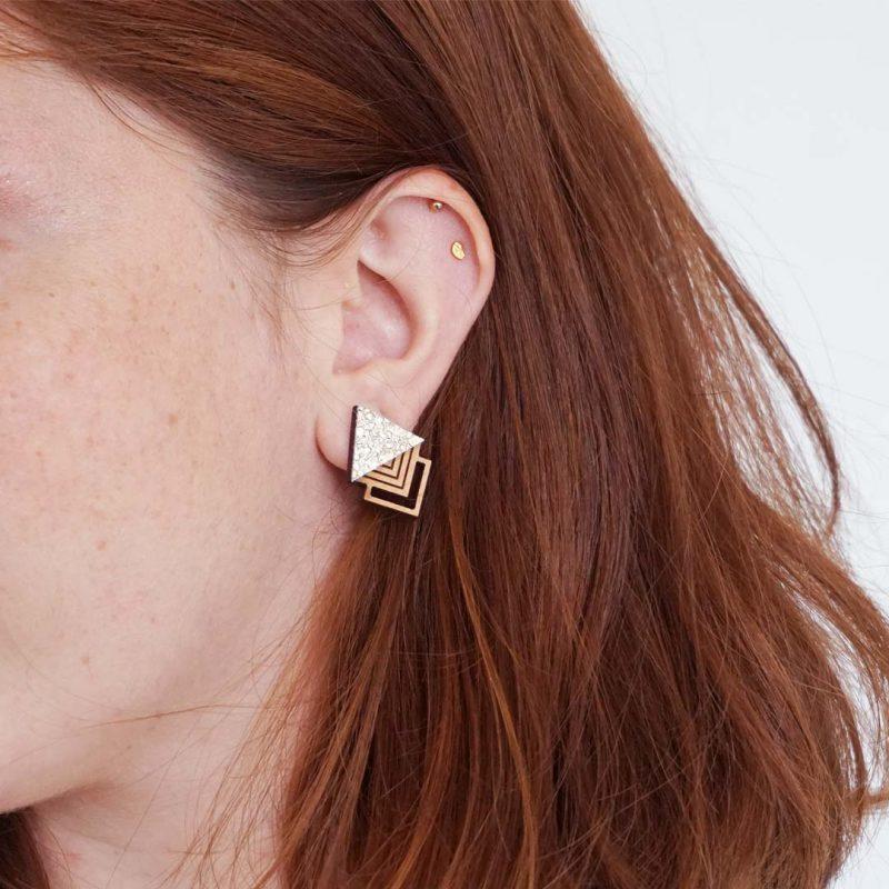 Boucles d'oreilles en bois et simili cuir doré MARTHO