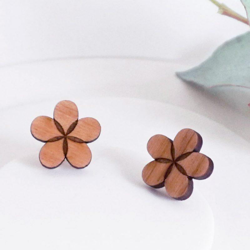 boucles d'oreilles en bois en forme de feuille bijoux, bijoux en bois MARTHO