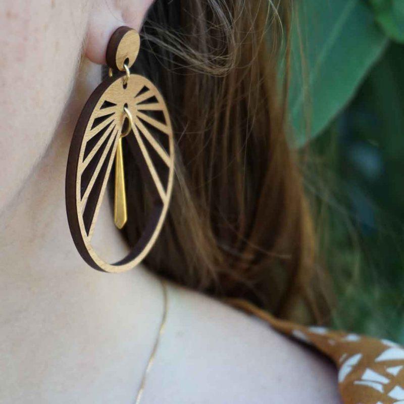 boucles d'oreilles en bois découpé au laser MARTHO CIRCULUS bijoux fantaisie bijoux en bois