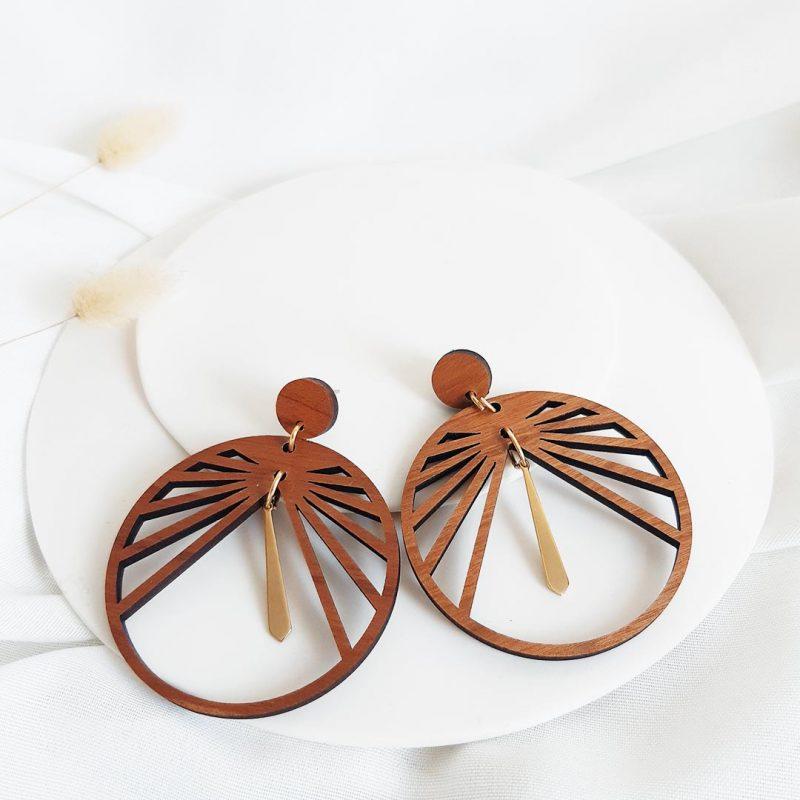 Boucles d'oreilles en bois et métal CIRCULUS