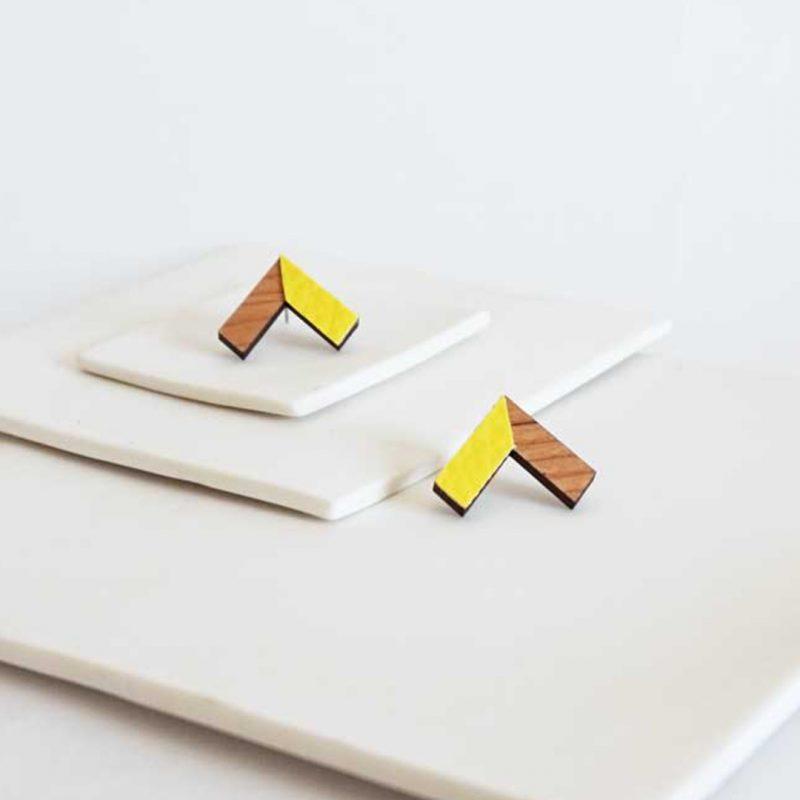 boucles d'oreilles en bois matière upcyclé cuir ou simili cuir upcyclé bijoux en bois MARTHO