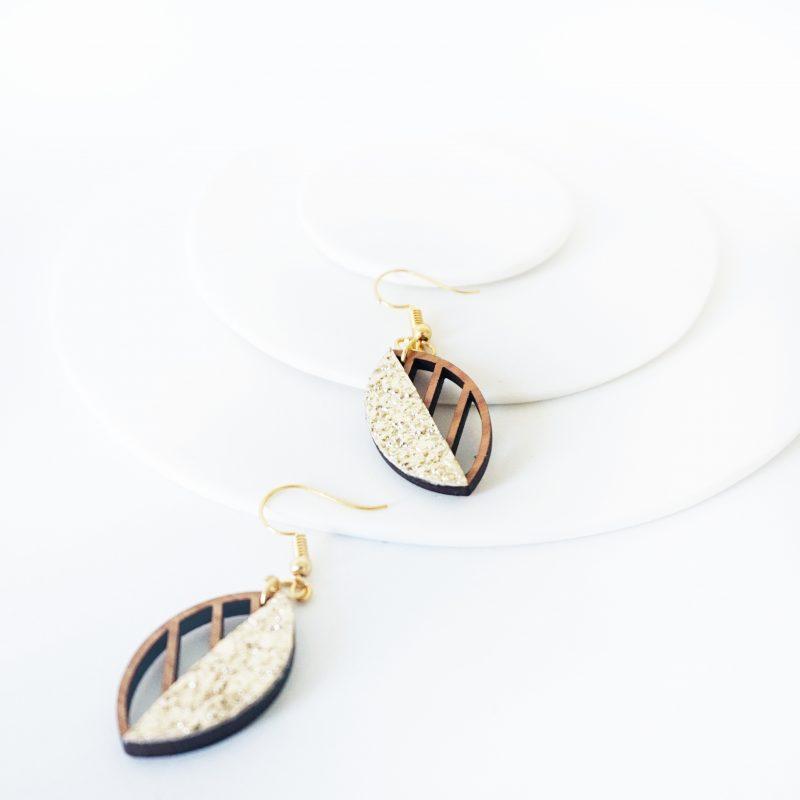 boucles d'oreilles en bois bijoux en bois Martho HERBORISTE simili cuir upcyclé or