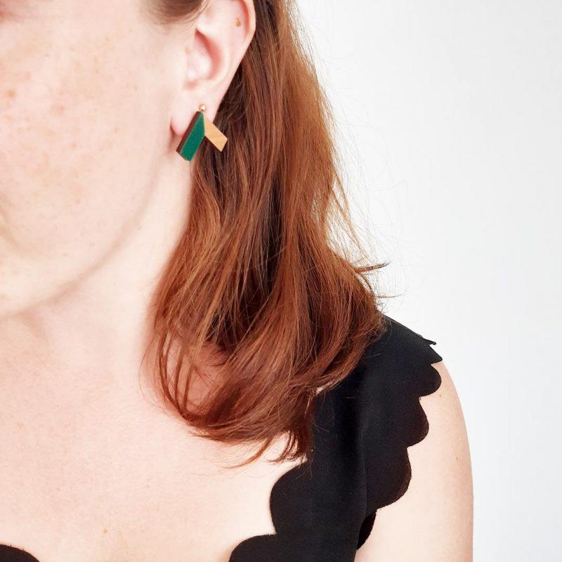 boucles d'oreilles en bois modèle ZERO en cuir sapin