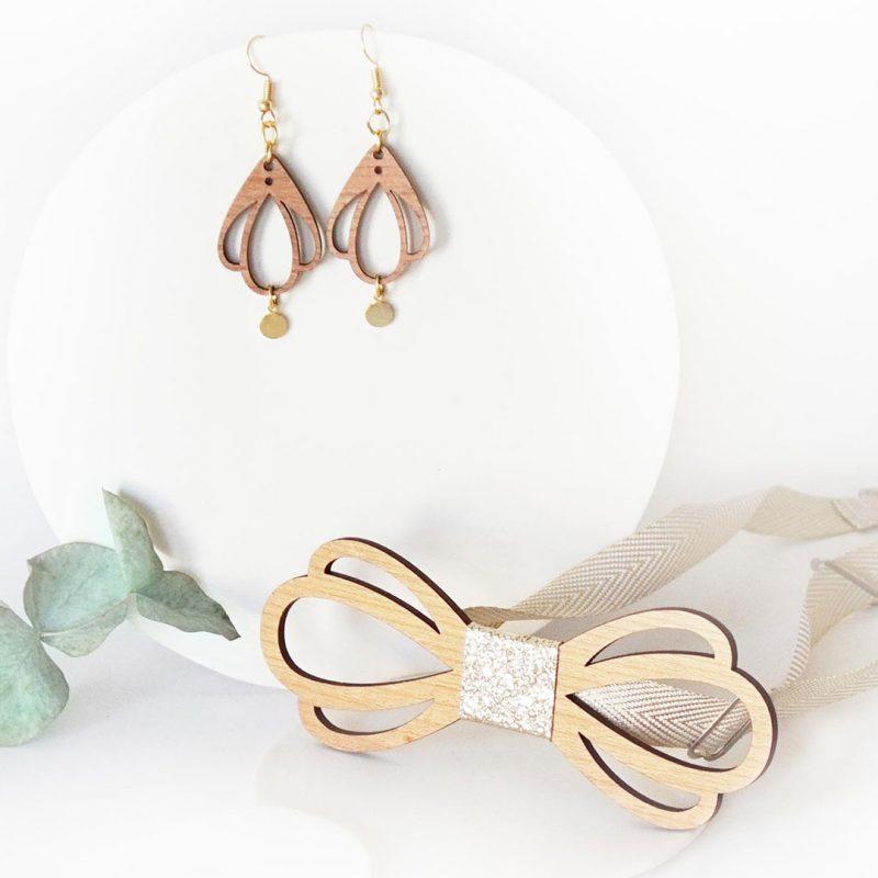 bijoux en bois duo accessoire couple noeud papillon et boucles d'oreilles en bois CHAMPETRE zoom