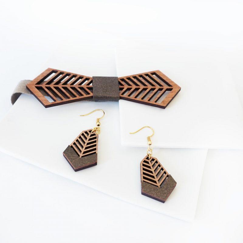 bijoux en bois boucles d'oreilles en bois noeud papillon en bois FANTAISISTE MARTHO cuir upcyclé bronze