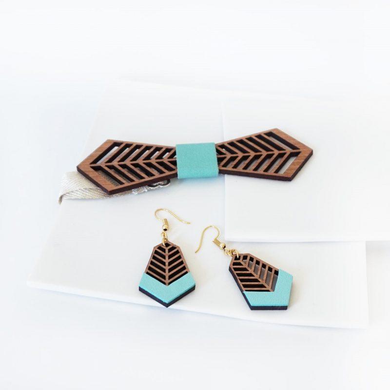bijoux en bois boucles d'oreilles en bois noeud papillon en bois FANTAISISTE MARTHO mint