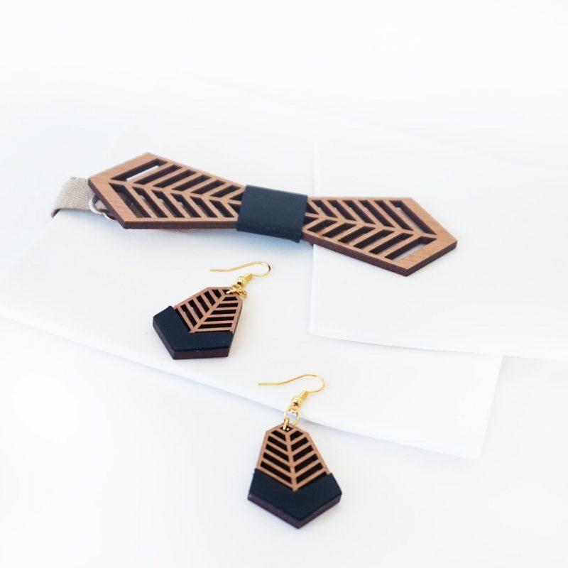 bijoux en bois boucles d'oreilles en bois noeud papillon en bois FANTAISISTE MARTHO cuir ou simili cuir noir