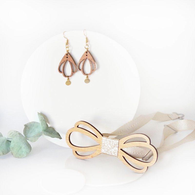bijoux en bois duo accessoire couple noeud papillon et boucles d'oreilles en bois CHAMPETRE simili cuir doré