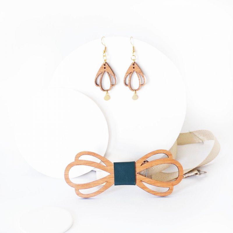 bijoux en bois duo accessoire couple noeud papillon et boucles d'oreilles en bois CHAMPETRE sapin