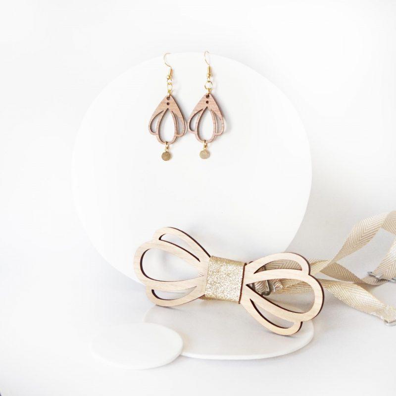 bijoux en bois duo accessoire couple noeud papillon et boucles d'oreilles en bois CHAMPETRE doré