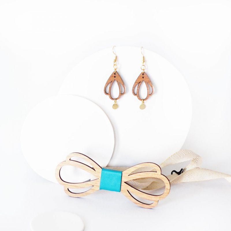 bijoux en bois duo accessoire couple noeud papillon et boucles d'oreilles en bois CHAMPETRE turqoise