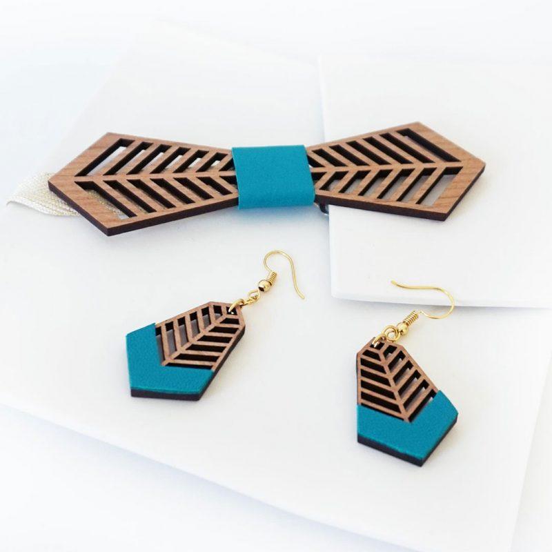 bijoux en bois boucles d'oreilles en bois noeud papillon en bois FANTAISISTE MARTHO zoom