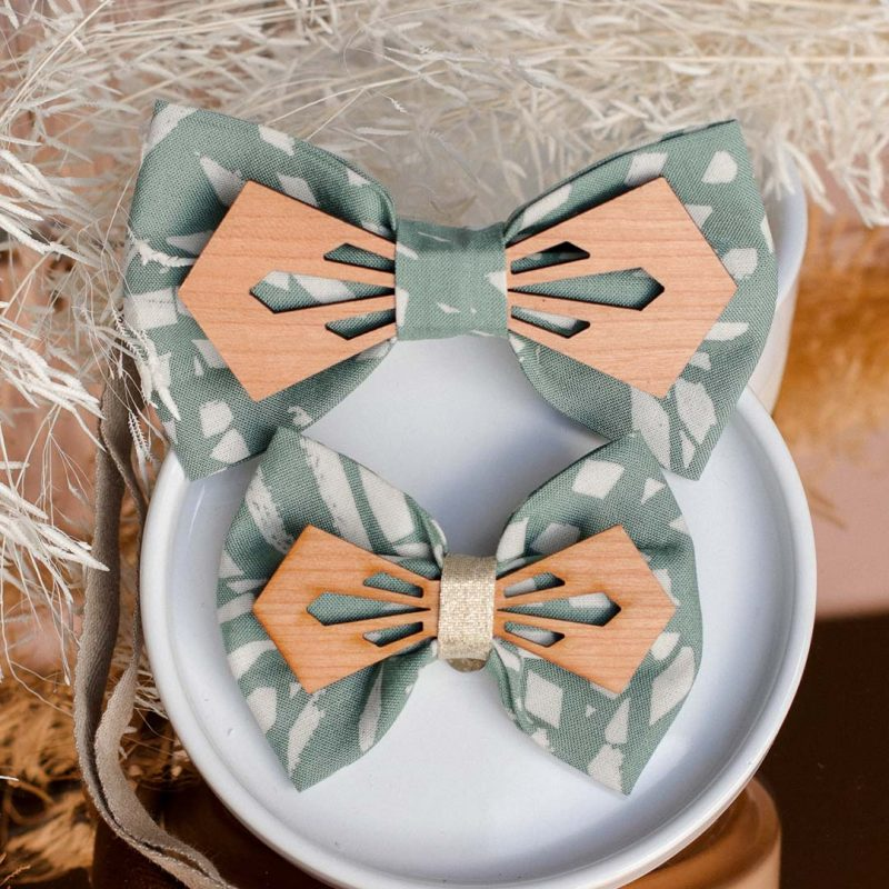 Duo noeud papillon en bois et tissu et barrette modèle Jungle