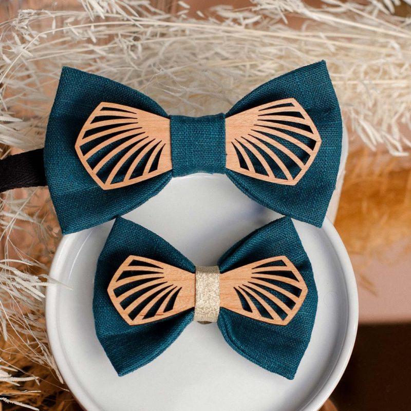 Duo noeud papillon en bois et barrette en bois modèle Paon