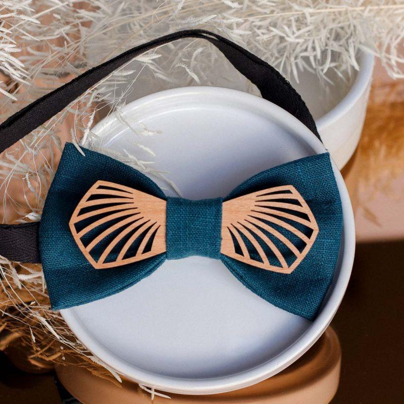 Noeud papillon en bois et tissu modèle Paon