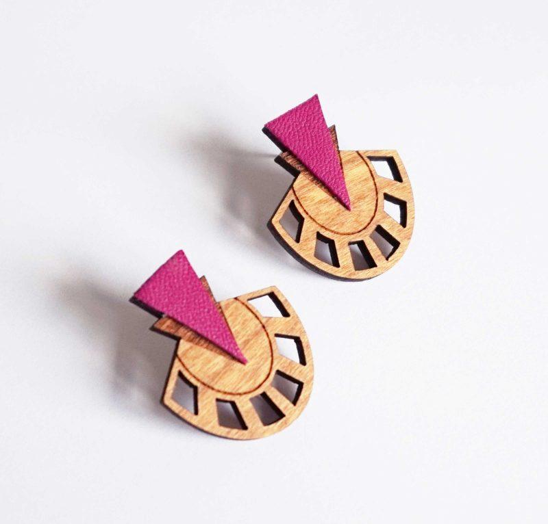 boucles d'oreilles en bois modèle PALMIER fait par MARTHO