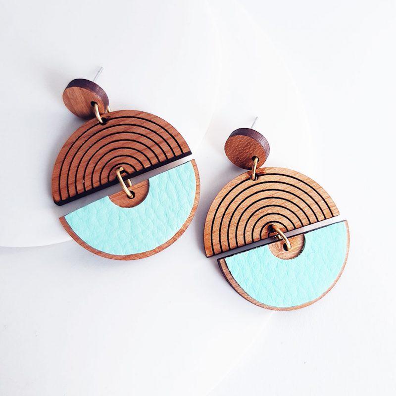 boucles d'oreilles en bois en forme de cercle bijoux en bois MARTHO modèle HORBIT H2