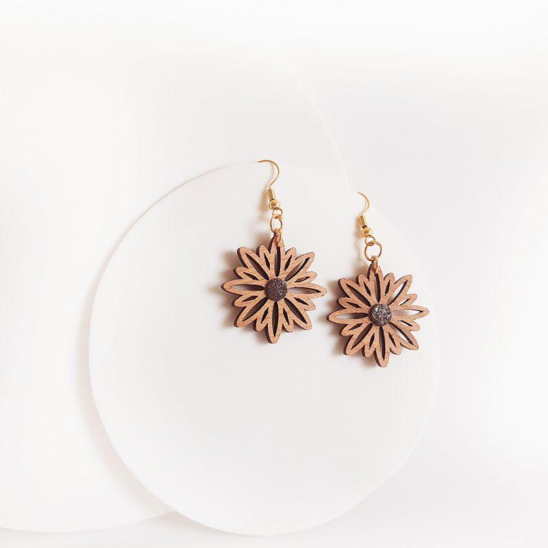 boucles d'oreilles en bois découpé au laser bijoux en bois forme de fleur ASTERAL 2 paillettes