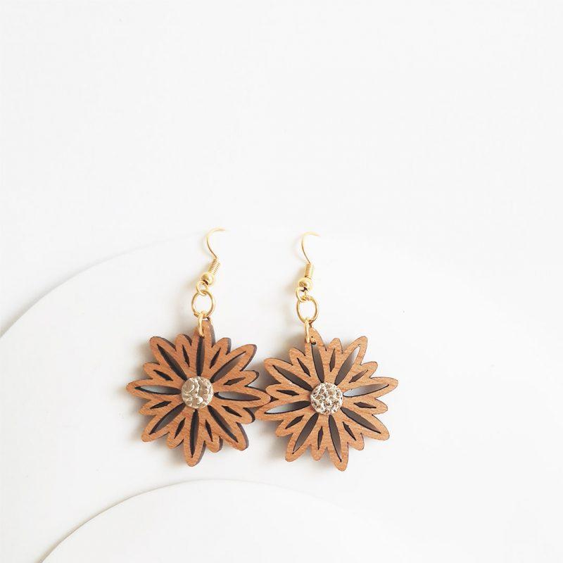boucles d'oreilles en bois bijoux fleur bijoux naturel ASTERAL simili doré